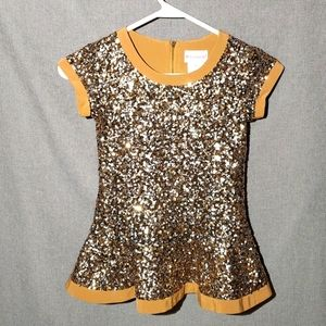American Girl Gold Sequin Dress Costume SZ 7 / 8